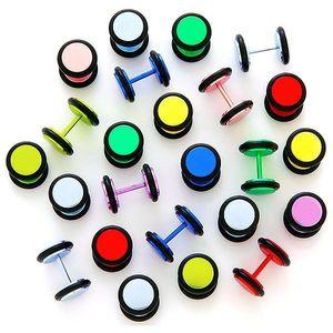 Neonový falešný plug anodizovaný s gumičkami - Barva piercing: Žlutá obraz