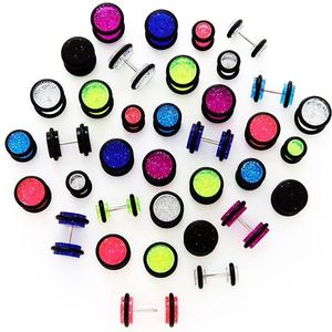 Třpytivý falešný plug s černými gumičkami - Velikost hlavičky: 12 mm, Barva piercing: Tmavá Modrá obraz