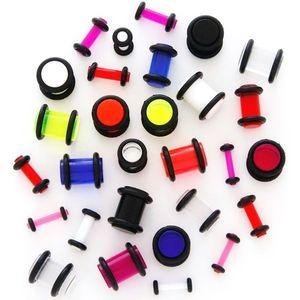 Plug do ucha UV průhledný s gumičkami - Tloušťka : 2 mm, Barva piercing: Růžová obraz