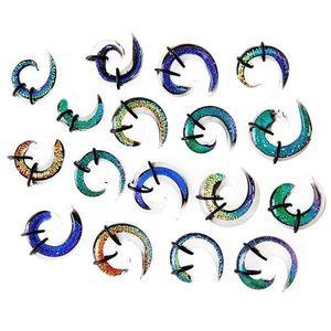 Expander do ucha - vícebarevná skleněná spirálka, gumičky - Tloušťka : 9, 5 mm, Barva piercing: Modrá obraz