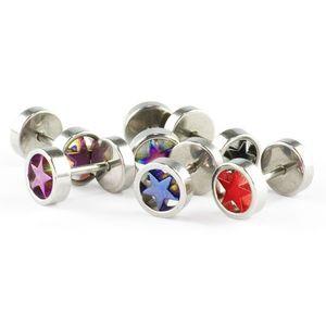Falešný plug do ucha - barevná hvězda - Barva piercing: Růžová obraz