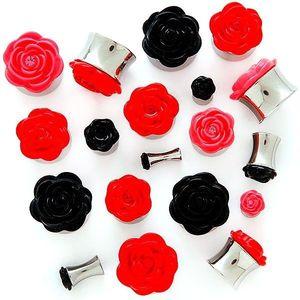 Plug do ucha s plastickou růžičkou - Tloušťka : 4, 5 mm, Barva piercing: Červená obraz