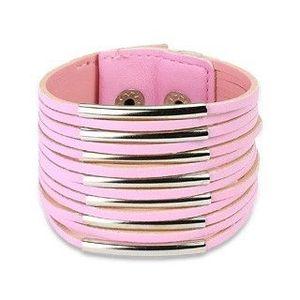 Široký koženkový náramek - tenké pásky - Barva: Růžová obraz