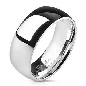 Ocelový prsten - stříbrný, hladký, lesklý, 8 mm - Velikost: 70 obraz