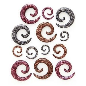 Expander do ucha - spirála, vzor leopard - Tloušťka : 8 mm, Barva: Růžová obraz