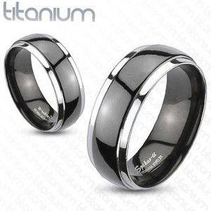 Prsten z titanu - černo-stříbrný - Velikost: 70 obraz