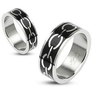 Prsten s motivem řetězu na černém podkladu - Velikost: 54 obraz