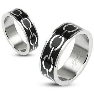 Prsten s motivem řetězu na černém podkladu - Velikost: 67 obraz