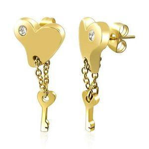 Ocelové náušnice - pozlacené srdce s klíčem na řetízku obraz