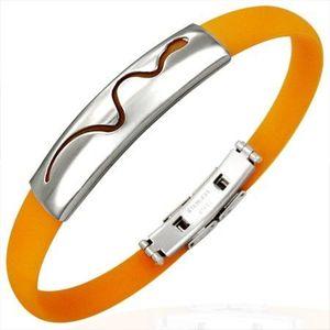 Oranžový gumový náramek - vlnící se had obraz
