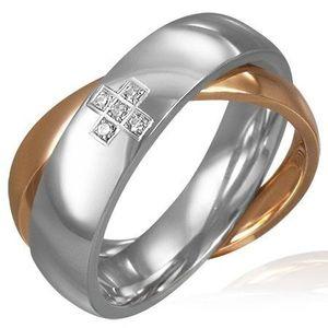Dvojitý ocelový prsten - zirkonový kříž, zlatý a stříbrný - Velikost: 59 obraz