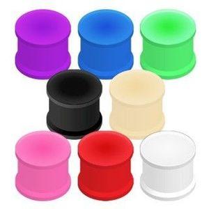 Tunel do ucha gumový, ohebný - Tloušťka : 9, 5 mm, Barva piercing: Zelená obraz