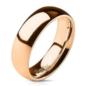 Prsten z oceli v růžovo-zlaté barvě - 6 mm - Velikost: 70 obraz
