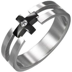 Prsten z oceli - černý kříž, čirý zirkon - Velikost: 59 obraz