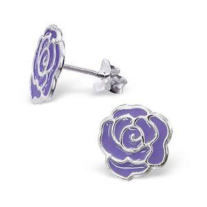 Puzetové stříbrné náušnice 925 - růže - Barva: Bílá obraz