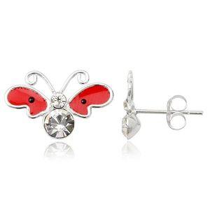 Stříbrné náušnice 925 - motýl, červená křídla s černými tečkami obraz