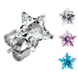 Náušnice ze stříbra 925 - barevná hvězdička, různé barvy - Šířka: 4 mm, Barva: Aqua modrá obraz