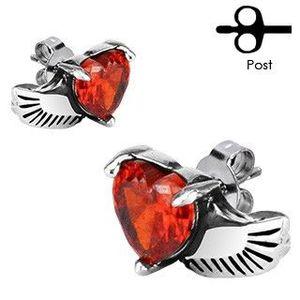Náušnice z chirurgické oceli - andělské křídlo, červené srdce obraz