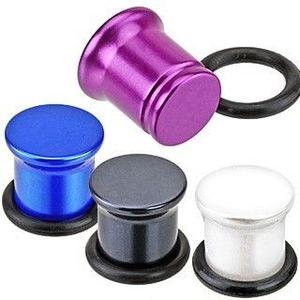 Metalický plug do ucha z akrylu - perleťové barvy - Tloušťka : 6 mm , Barva: Černá obraz
