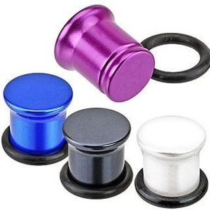 Metalický plug do ucha z akrylu - perleťové barvy - Tloušťka : 6 mm , Barva: Bílá obraz