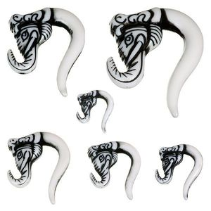 Piercing do ucha - taper, sloní hlava, černá barva - Tloušťka : 4, 5 mm obraz