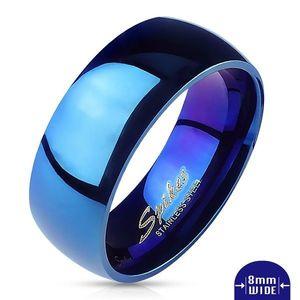Prsten z oceli - modrá lesklá obroučka - Velikost: 67 obraz