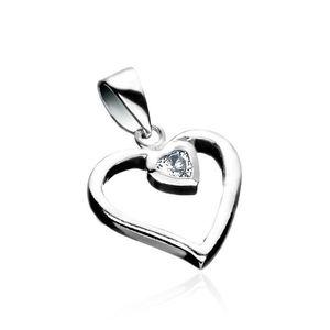 Stříbrný přívěsek 925 - linie srdce se zirkonovým srdcem obraz