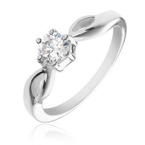 Stříbrný prsten 925 - kulatý čirý zirkon, ramena se slzičkami - Velikost: 54 obraz