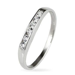 Stříbrný prsten 925 - třpytivá zirkonová linie - Velikost: 52 obraz