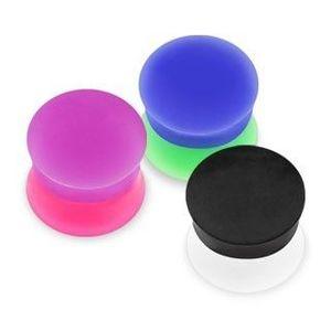 Sedlový plug do ucha - dvoubarevné poloviny - Tloušťka : 6 mm , Barva piercing: Černá - Bílá obraz
