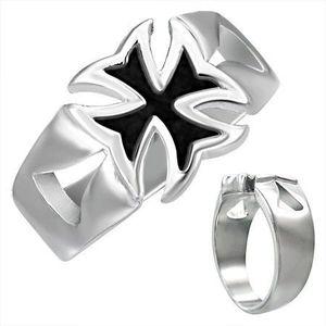 Mohutný ocelový prsten s patinovaným maltézským křížem - Velikost: 59 obraz