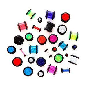 Piercing do ucha - neonový třpytivý plug - Tloušťka : 4 mm, Barva: Fialová obraz