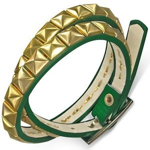Kožený náramek - zelený opasek, zlaté pyramidy obraz