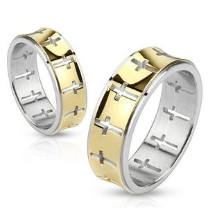Ocelový prsten - zlatý pásek s vykrojenými kříži - Velikost: 59 obraz