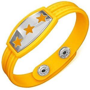 Žlutý gumový náramek - hvězdy na známce, řecký klíč obraz