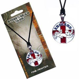 Šňůrkový náhrdelník s přívěskem, anglická vlajka se lvem obraz