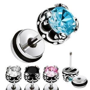 Ocelový fake plug do ucha, kulatý zirkon, královská koruna - Barva zirkonu: Aqua modrá - Q obraz