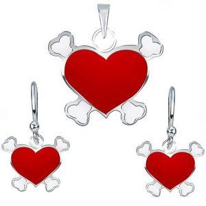 Stříbrný 925 set náušnic a přívěsku - červené pirátské srdce obraz