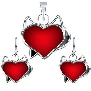 Set náušnic a přívěsku ze stříbra 925 - červené srdce čertík obraz