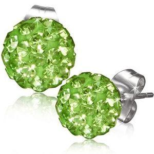 Zelené puzetové náušnice, kulička s kamínky obraz