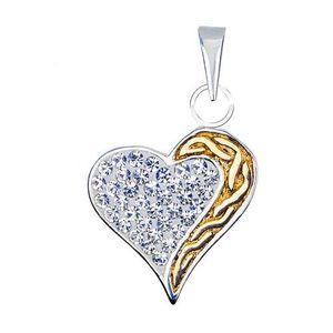 Přívěsek srdce ze stříbra 925 se zirkony a zlatou spirálou obraz