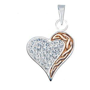 Stříbrný přívěsek 925 - zirkonové srdce se zlatým pásem obraz