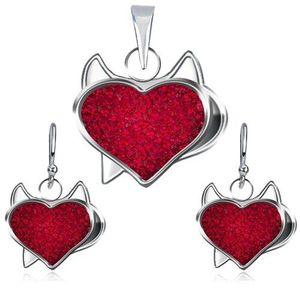 Stříbrný set 925 přívěsku a náušnic - červené zirkonové srdce, čertík obraz