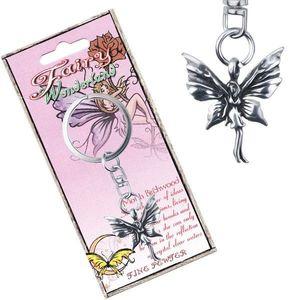 Kovový přívěsek na klíče - stojící motýlí víla s patinou obraz