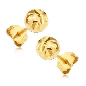 Zlaté 14K puzetové náušnice - kuličky s paprskovitým květem obraz