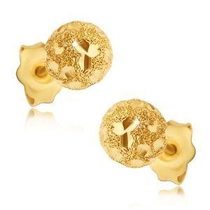Náušnice ze zlata 585 - pískované kuličky s lesklými zrnky obraz