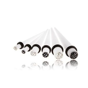 Akrylový expander do ucha - bílý, zirkony zalité glazurou - Tloušťka : 6 mm , Barva zirkonu: Černá - K obraz