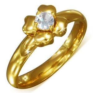Zlatý prsten z chirurgické oceli s čirým zirkonem - květ - Velikost: 52 obraz