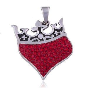 Přívěsek ze stříbra 925 - srdce s královskou korunou, červené zirkony obraz
