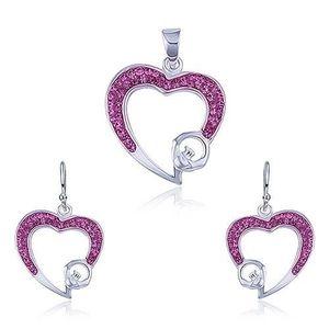 Stříbrný set 925 - přívěsek a náušnice, růžový zirkonový obrys srdce obraz